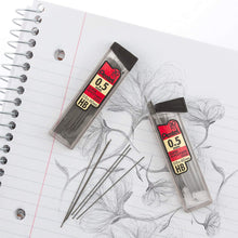 Load image into Gallery viewer, Pentel Super Hi-Polymer 0.5mm Fine HB Lead Refills - 3 Tubes, 90 Pieces Total (C25BPHB3-K6)