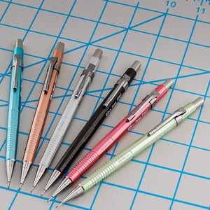 Pentel Sharp Premium Mechanical Pencils 0.7mm Medium with Metallic Barrels in Assorted Colors & HB Lead - Pack of 3 Pencils (P207MBP3M)