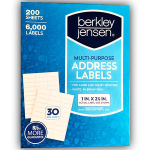 BJ's Address Labels 6000 Great Personalized, Adhesive, White/Blank Supply Labels (1 x 2 5/8 inches) for Laser & Inkjet Printers