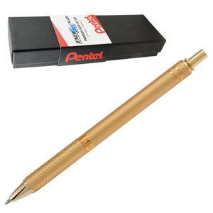 Pentel EnerGel 0.7mm Medium Gold Barrel Alloy Retractable Liquid Gel Black Ink Pen in Gift Box (BL407XABX)
