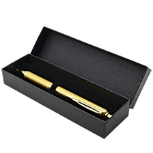 Load image into Gallery viewer, Pentel EnerGel 0.7mm Medium Gold Barrel Alloy Retractable Liquid Gel Black Ink Pen in Gift Box (BL407XABX)