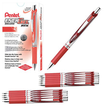 Load image into Gallery viewer, Pentel EnerGel RTX Retractable 0.7mm Medium Line Red Liquid Gel Ink Rollerball Pens - Box of 12 Pens (BL77-B)