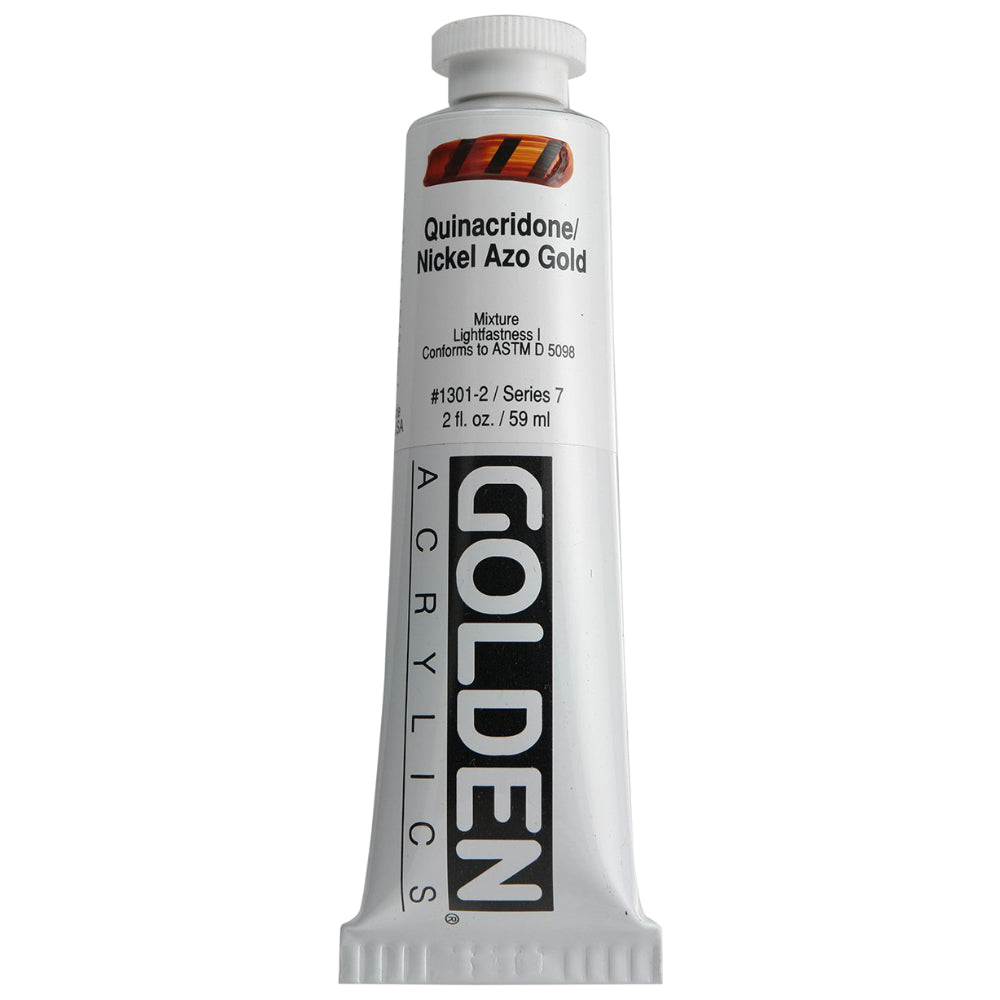 Golden Artist Colors (GAC) Heavy Body Acrylic Paint, 2-Ounce Tube, Quinacridone Nickel Azo Gold (1301-2)