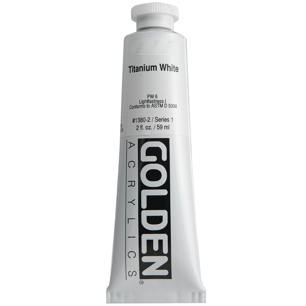Golden Artist Colors (GAC) Heavy Body Acrylic Paint, 2-Ounce Tube, Titanium White (1380-2)
