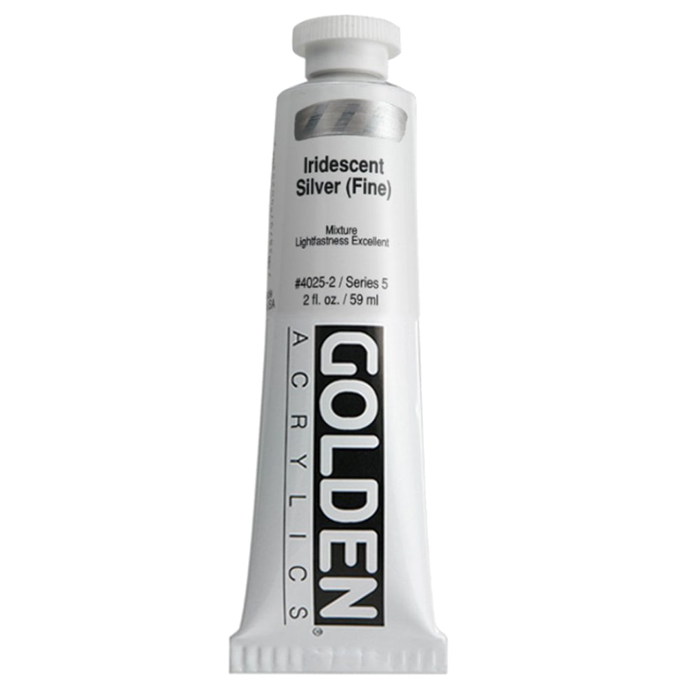 Golden Artist Colors (GAC) Heavy Body Acrylic Paint, 2-Ounce Tube, Iridescent Silver - Fine (4025-2)