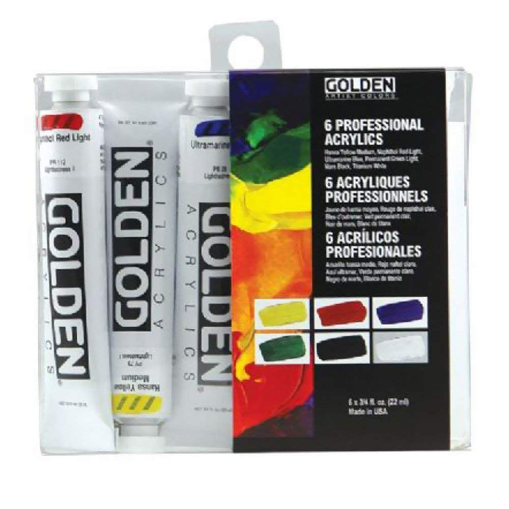 Golden Artist Colors (GAC) Heavy Body Professional Acrylics Set of 6 (074-0)