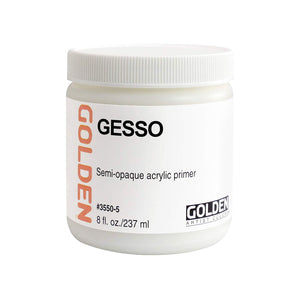 Golden Artist Colors (GAC) Gesso Semi-Opaque Acrylic Primer,  8-Ounce Jar (3550-5)