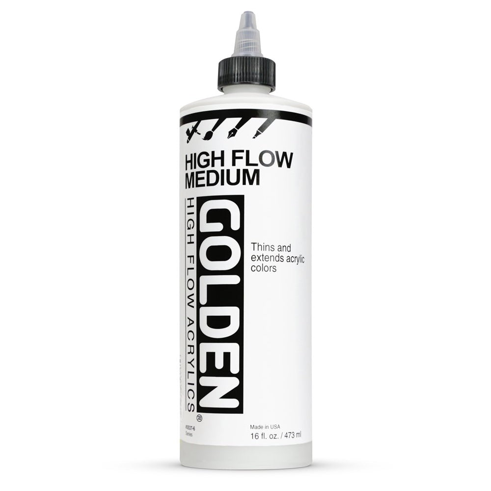 Golden Artist Colors (GAC) High Flow Medium, Thins & Extends Acrylic Colors, 16 fl oz (3537-6) (formerly Airbrush Transparent Extender)