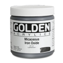 Load image into Gallery viewer, Golden Artist Colors (GAC) Heavy Body Iridescent Acrylic Micaceous Iron Oxide 8 oz Jar (4080-5)