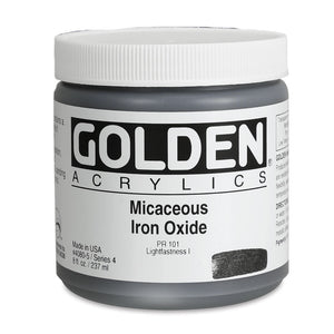 Golden Artist Colors (GAC) Heavy Body Iridescent Acrylic Micaceous Iron Oxide 8 oz Jar (4080-5)