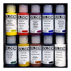 Golden Artist Colors (GAC) Principal 10 Professional Fluid Acrylic Set (905-0) - Useful for Watercolor Techniques when Mixed with Water