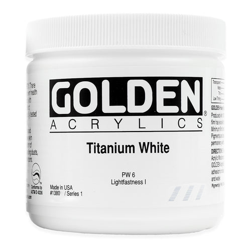 Golden Artist Colors (GAC) Heavy Body Acrylics Titanium White 4 oz Jar (1380-4)