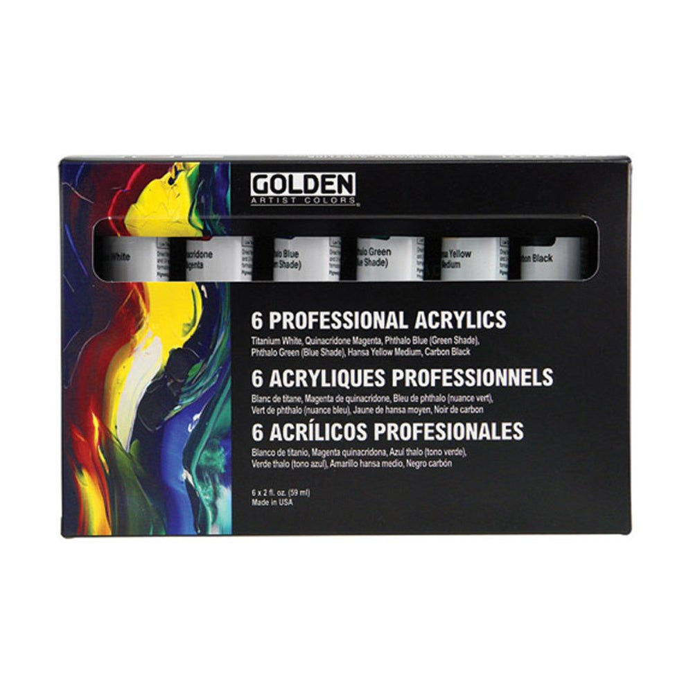 Golden Artist Colors (GAC) Principal Professional 6 Piece Heavy Body Acrylic Set (910-0)