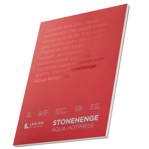 Legion Paper Stonehenge Aqua Hotpress 15 Sheets 9x12 in White L21-SQH140WH912