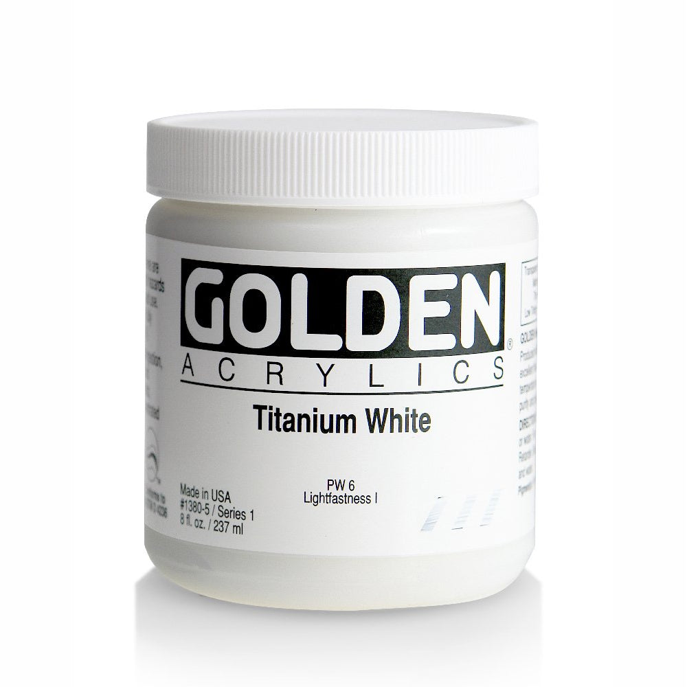 Golden Artist Colors (GAC) Heavy Acrylic Body Color Paint, Titanium White 8 oz Jar (1380-5)