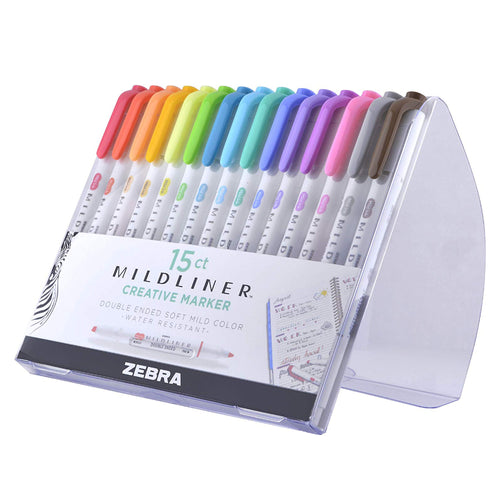 Zebra Mildliner, Double Ended Highlighter, Broad and Fine Tips, Assorted colors, 15 Count