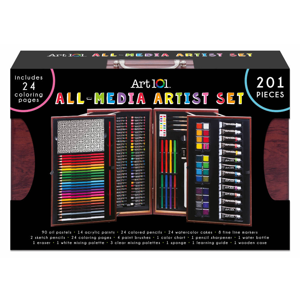 Art 101 Deluxe Art Set in Wooden Case, 201 Pieces
