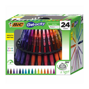 BIC Gel-ocity Pens with Storage Spinner, 24 Count