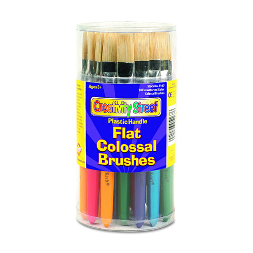 Creativity Street Colossal Brush, Natural Bristle, Round, 30 Set