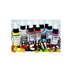 Golden Artist Colors (GAC) High Flow Acrylic, Assorted 10 Color Set For Airbrush, Staining (953-0)