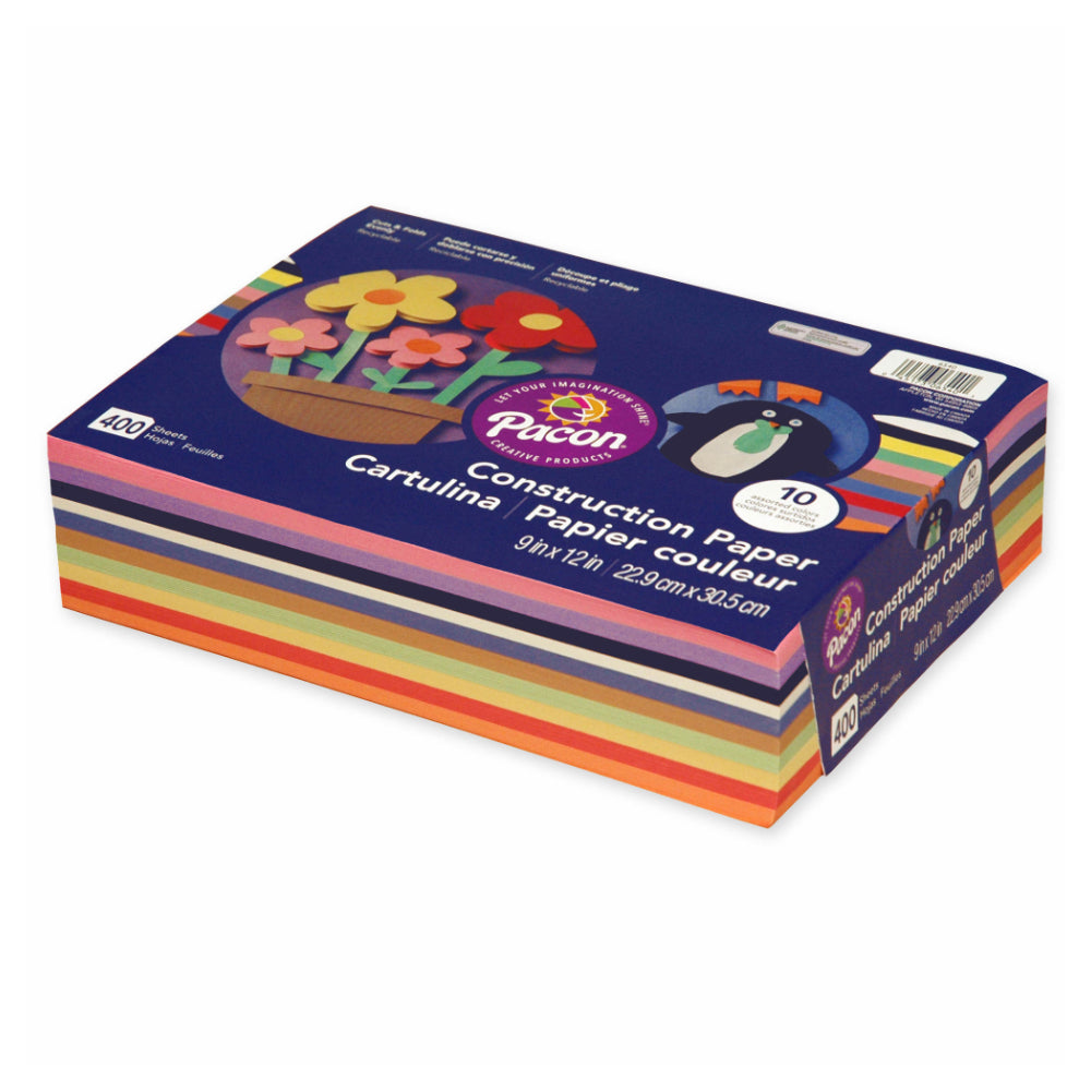 Pacon 10 Assorted Color Construction Paper Pack, 400 Sheets