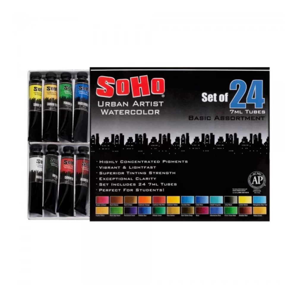 SoHo Urban Artist Quality Watercolor Set of 24