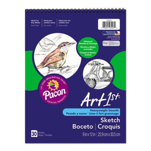 Pacon Sketchbook, Unruled, 80lb, 9 x 12, White, 30 Sheets
