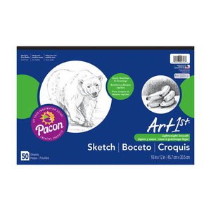 Pacon Sketchbook ART1ST Sketch Pad 12 x 18, White, 50 Sheets