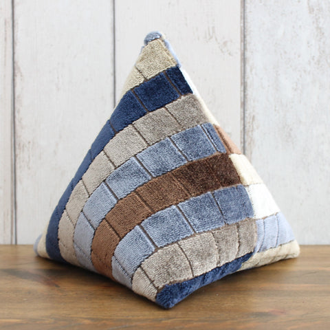 Brown & Blue Velvet Check Fabric Doorstop
