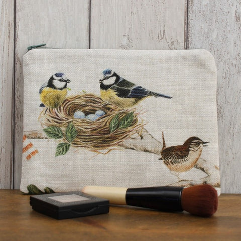 Blue Tit Print Zipped Pouch
