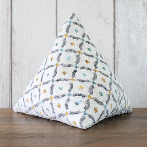 Cream and Grey Geometric Fabric Doorstop