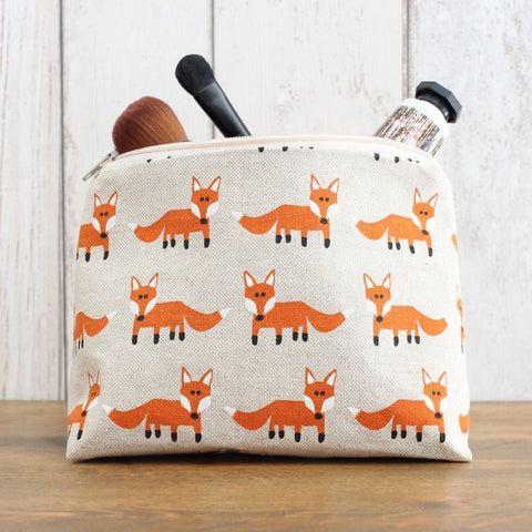Fox Print Makeup Bag