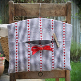 Grey and White French Gingham Peg Bag