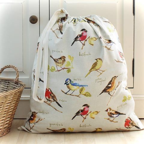 Garden Birds Print Cotton Fabric Laundry Bag