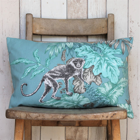 Teal & Grey Monkey Sofa Cushion