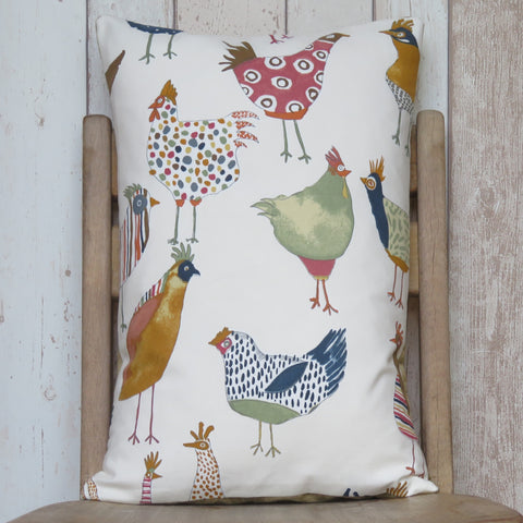 Multicoloured Chickens Sofa Cushion