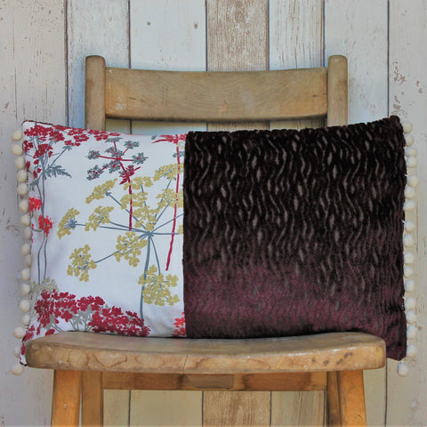 Dark Red Cow Parsley Print Cushion