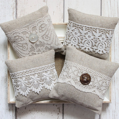 2 x Lavender Bags with Assorted Lace and Mother of Pearl Button Decoration