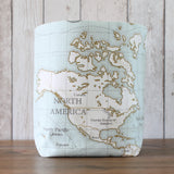 World Map Fabric Storage Bin (L)