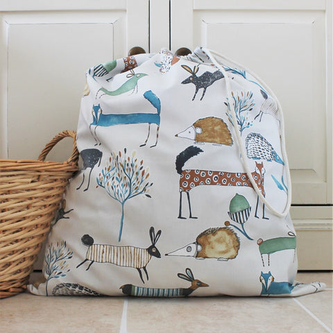 Abstract Animals Print Cotton Fabric Laundry Bag