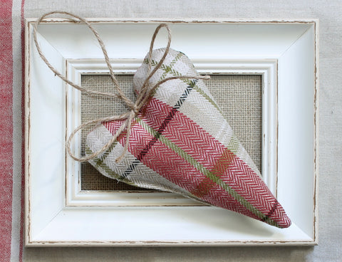 Red & Cream Tartan Hanging Heart