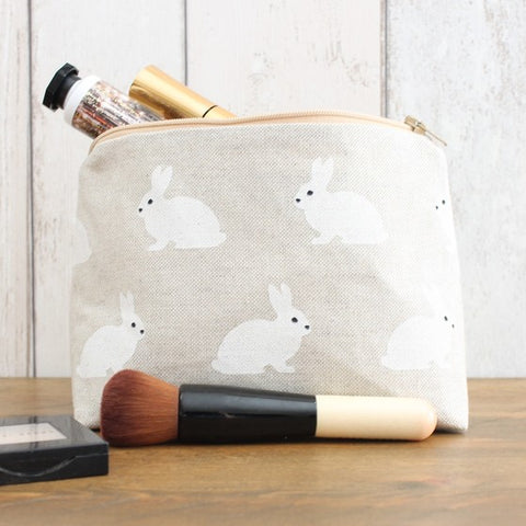 White Rabbit Print Makeup Bag