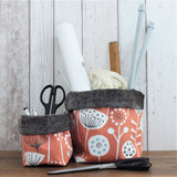 Orange Scandi Floral Fabric Storage Bin (L & S)