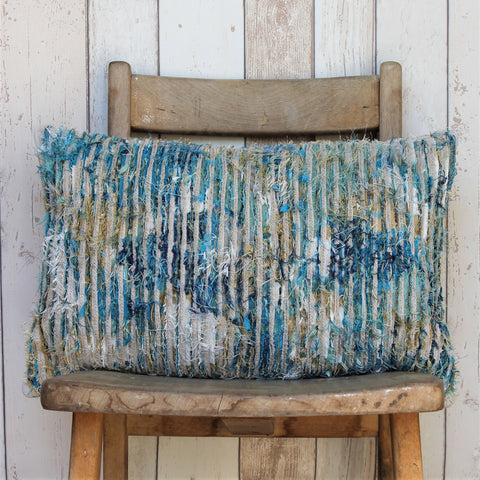 Unique Slash Quilted Teal and Gold Cushion