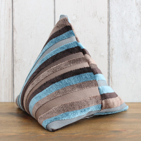 Brown & Turquoise Velvet Stripe Fabric Doorstop