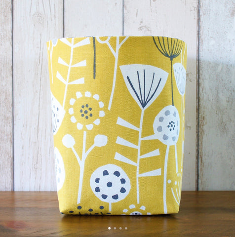Yellow Scandi Floral Fabric Storage Bin (M)