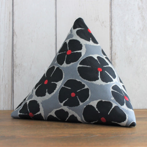 Black and Silver Grey Floral Fabric Doorstop