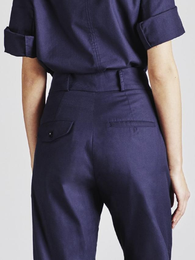 Alice Early High Waisted Organic Cotton Navy Trouser
