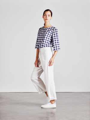 Alice Early High Waisted Organic Cotton White Trouser