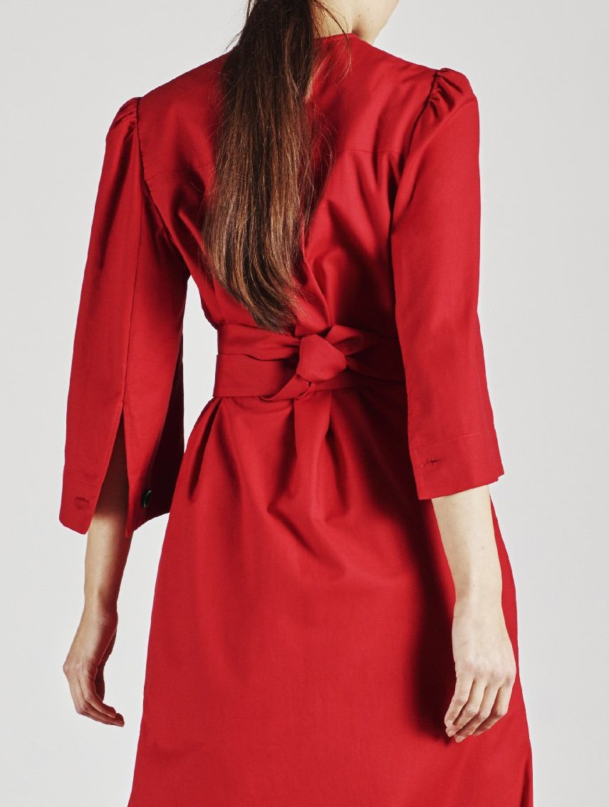 Alice Early Red Organic Cotton Dress